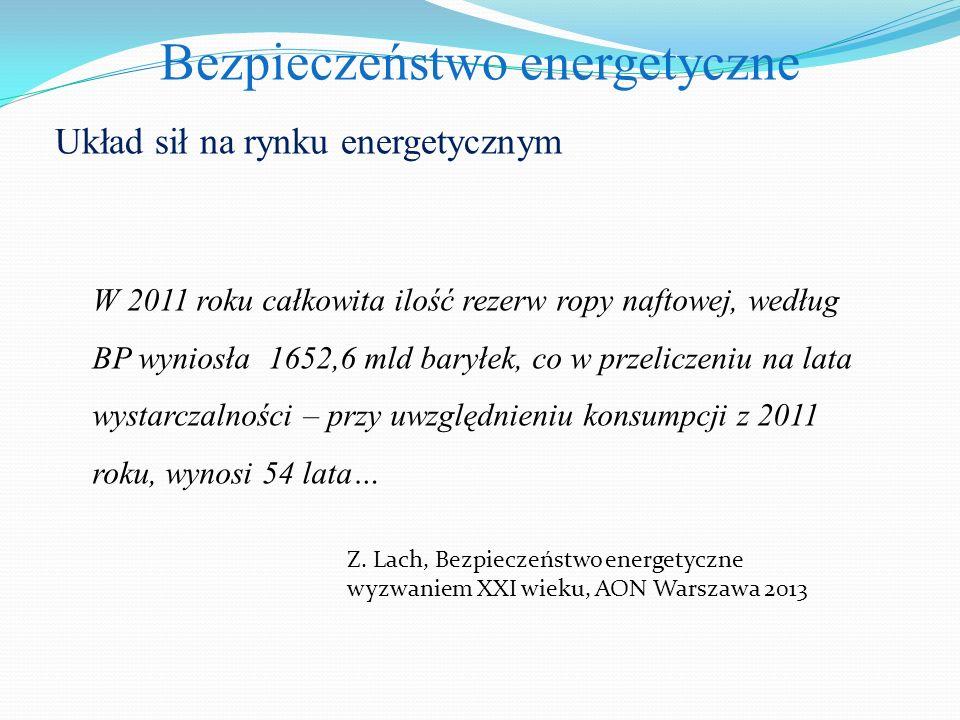 Bezpieczeństwo energetyczne Układ sił na rynku energetycznym W 2011 roku całkowita ilość rezerw ropy naftowej, według BP wyniosła 1652,6 mld baryłek, co w przeliczeniu na lata wystarczalności – przy uwzględnieniu konsumpcji z 2011 roku, wynosi 54 lata… Z.