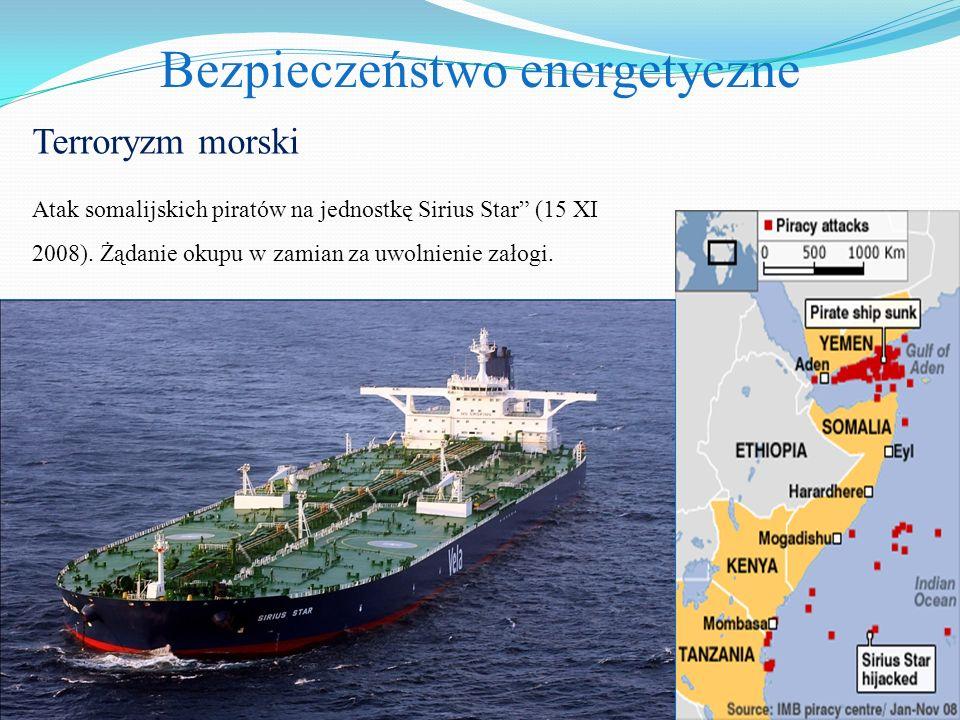 """Bezpieczeństwo energetyczne Terroryzm morski Atak somalijskich piratów na jednostkę Sirius Star"""" (15 XI 2008). Żądanie okupu w zamian za uwolnienie za"""