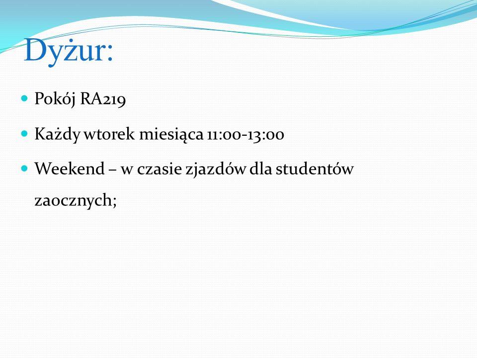 Dyżur: Pokój RA219 Każdy wtorek miesiąca 11:00-13:00 Weekend – w czasie zjazdów dla studentów zaocznych;