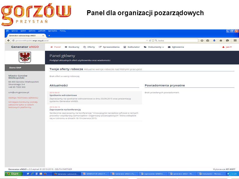 Panel dla organizacji pozarządowych