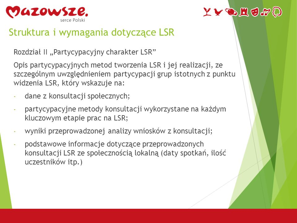 """Struktura i wymagania dotyczące LSR Rozdział II """"Partycypacyjny charakter LSR Opis partycypacyjnych metod tworzenia LSR i jej realizacji, ze szczególnym uwzględnieniem partycypacji grup istotnych z punktu widzenia LSR, który wskazuje na: - dane z konsultacji społecznych; - partycypacyjne metody konsultacji wykorzystane na każdym kluczowym etapie prac na LSR; - wyniki przeprowadzonej analizy wniosków z konsultacji; - podstawowe informacje dotyczące przeprowadzonych konsultacji LSR ze społecznością lokalną (daty spotkań, ilość uczestników itp.)"""