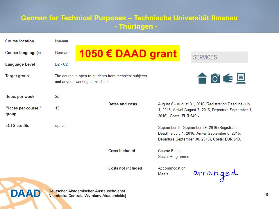 18 German for Technical Purposes – Technische Universität Ilmenau - Thüringen - 1050 € DAAD grant