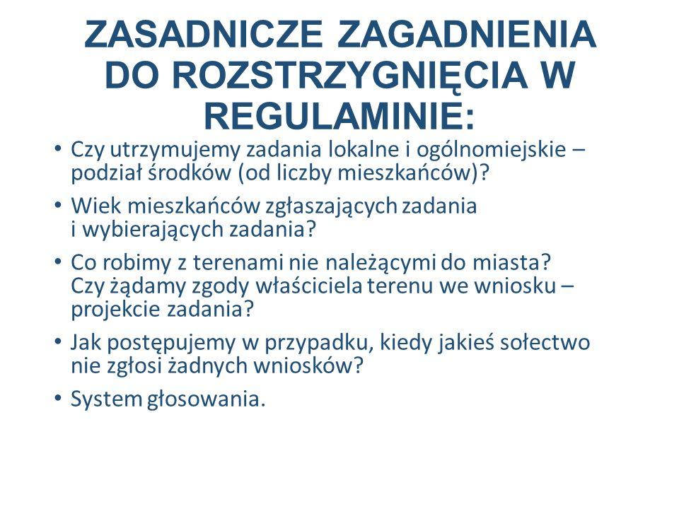 ZASADNICZE ZAGADNIENIA DO ROZSTRZYGNIĘCIA W REGULAMINIE: Czy utrzymujemy zadania lokalne i ogólnomiejskie – podział środków (od liczby mieszkańców).