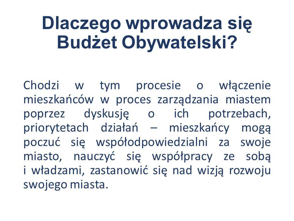 Dlaczego wprowadza się Budżet Obywatelski.