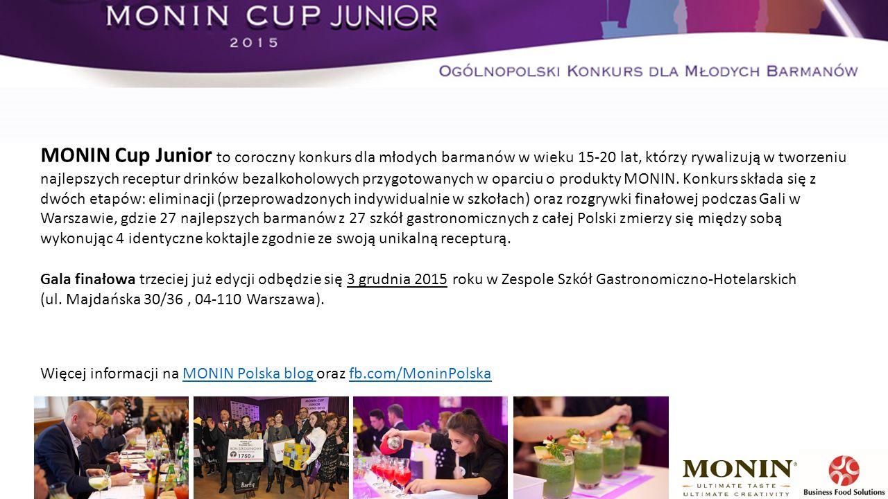 MONIN Cup Junior to coroczny konkurs dla młodych barmanów w wieku 15-20 lat, którzy rywalizują w tworzeniu najlepszych receptur drinków bezalkoholowych przygotowanych w oparciu o produkty MONIN.