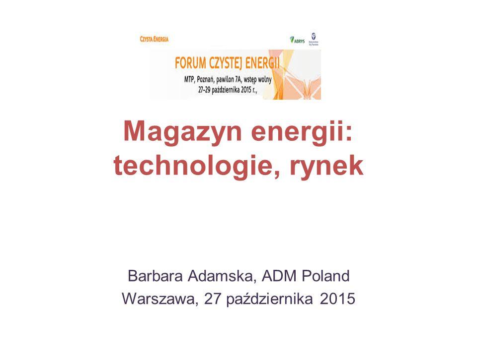 Magazyn energii: technologie, rynek Barbara Adamska, ADM Poland Warszawa, 27 października 2015