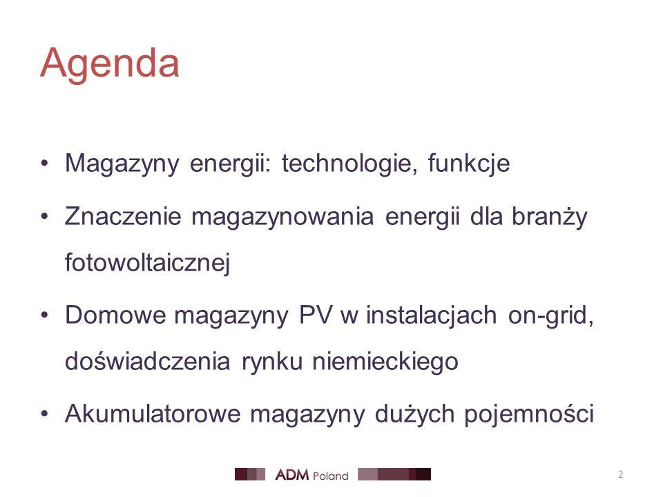 Agenda Magazyny energii: technologie, funkcje Znaczenie magazynowania energii dla branży fotowoltaicznej Domowe magazyny PV w instalacjach on-grid, do