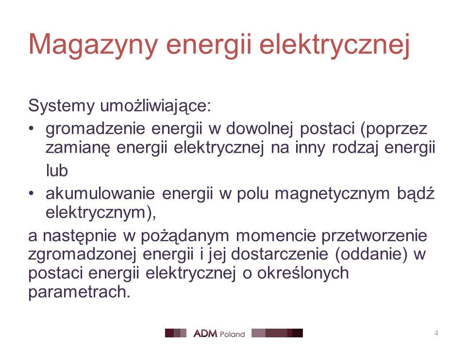 Magazyny energii elektrycznej 4 Systemy umożliwiające: gromadzenie energii w dowolnej postaci (poprzez zamianę energii elektrycznej na inny rodzaj energii lub akumulowanie energii w polu magnetycznym bądź elektrycznym), a następnie w pożądanym momencie przetworzenie zgromadzonej energii i jej dostarczenie (oddanie) w postaci energii elektrycznej o określonych parametrach.