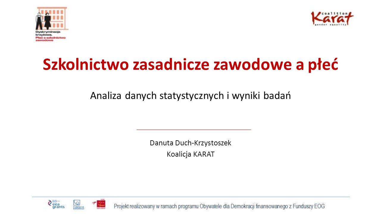 Szkolnictwo zasadnicze zawodowe a płeć Analiza danych statystycznych i wyniki badań Danuta Duch-Krzystoszek Koalicja KARAT