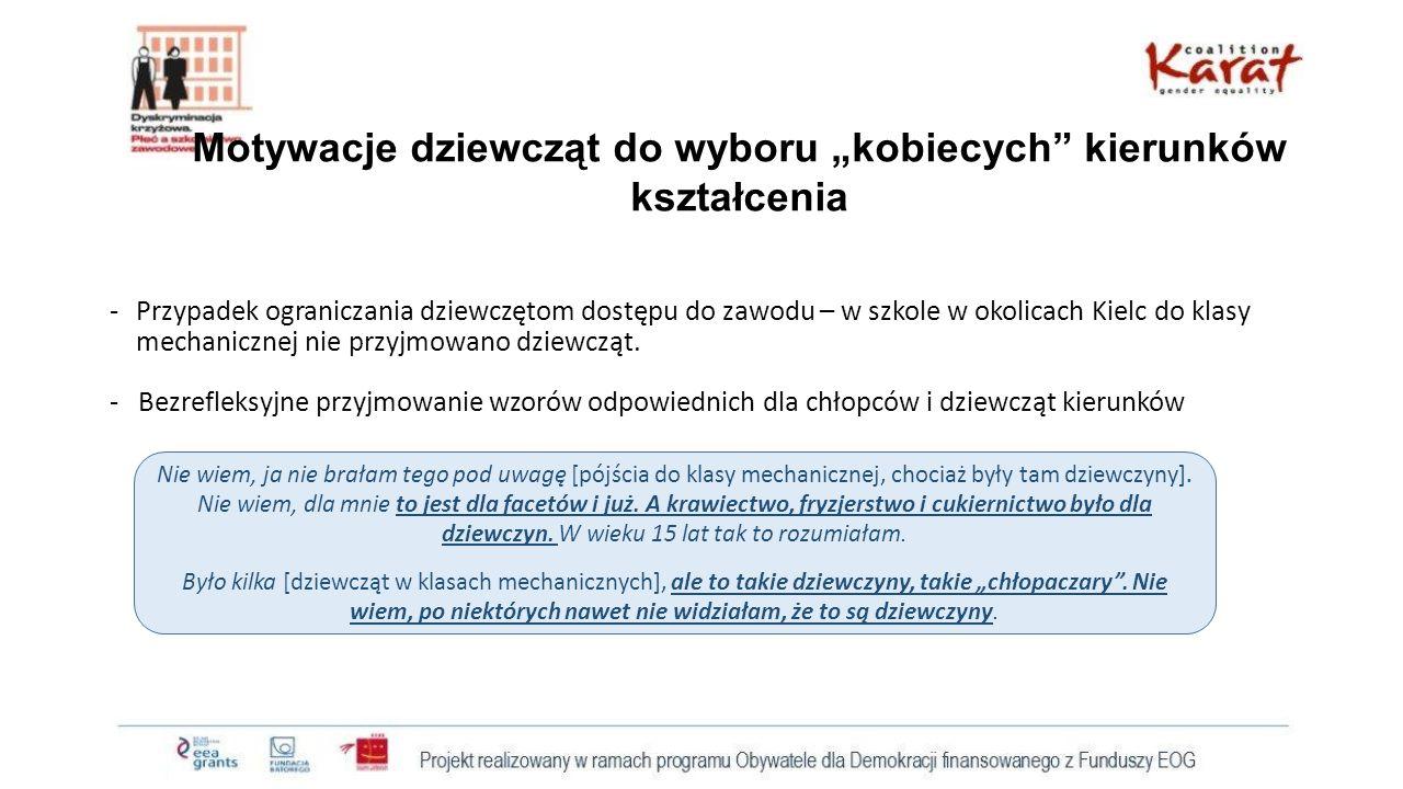 """Motywacje dziewcząt do wyboru """"kobiecych kierunków kształcenia -Przypadek ograniczania dziewczętom dostępu do zawodu – w szkole w okolicach Kielc do klasy mechanicznej nie przyjmowano dziewcząt."""