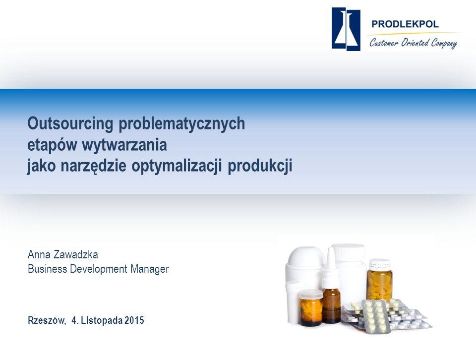 Outsourcing problematycznych etapów wytwarzania jako narzędzie optymalizacji produkcji Anna Zawadzka Business Development Manager Rzeszów, 4.