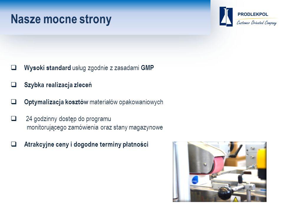 Nasze mocne strony  Wysoki standard usług zgodnie z zasadami GMP  Szybka realizacja zleceń  Optymalizacja kosztów materiałów opakowaniowych  24 godzinny dostęp do programu monitorującego zamówienia oraz stany magazynowe  Atrakcyjne ceny i dogodne terminy płatności