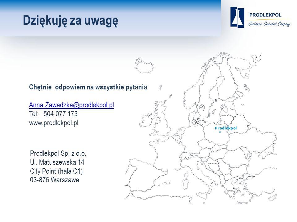Dziękuję za uwagę Chętnie odpowiem na wszystkie pytania Anna.Zawadzka@prodlekpol.pl Tel: 504 077 173 www.prodlekpol.pl Prodlekpol Sp.