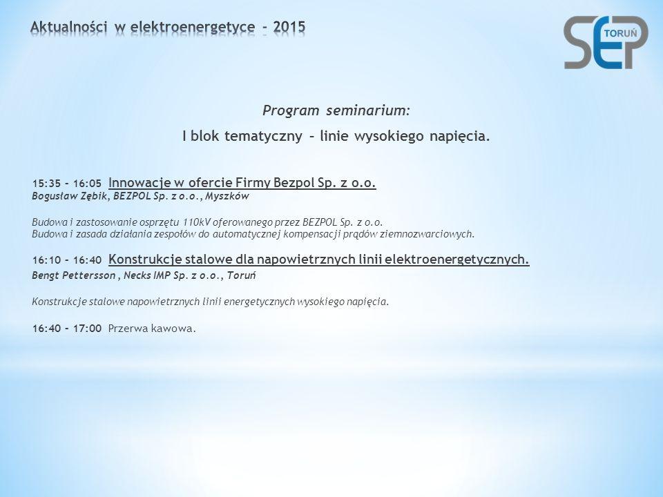 Program seminarium: I blok tematyczny – linie wysokiego napięcia.