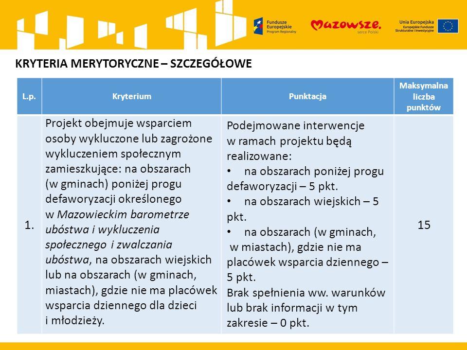 L.p.KryteriumPunktacja Maksymalna liczba punktów 1. Projekt obejmuje wsparciem osoby wykluczone lub zagrożone wykluczeniem społecznym zamieszkujące: n