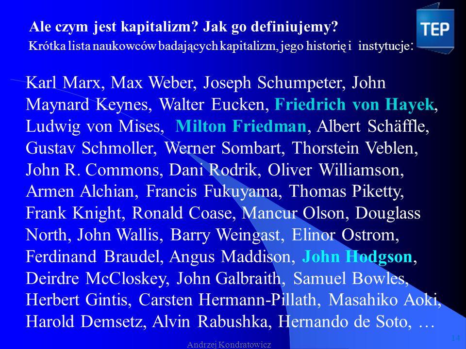 Andrzej Kondratowicz Karl Marx, Max Weber, Joseph Schumpeter, John Maynard Keynes, Walter Eucken, Friedrich von Hayek, Ludwig von Mises, Milton Friedman, Albert Schäffle, Gustav Schmoller, Werner Sombart, Thorstein Veblen, John R.