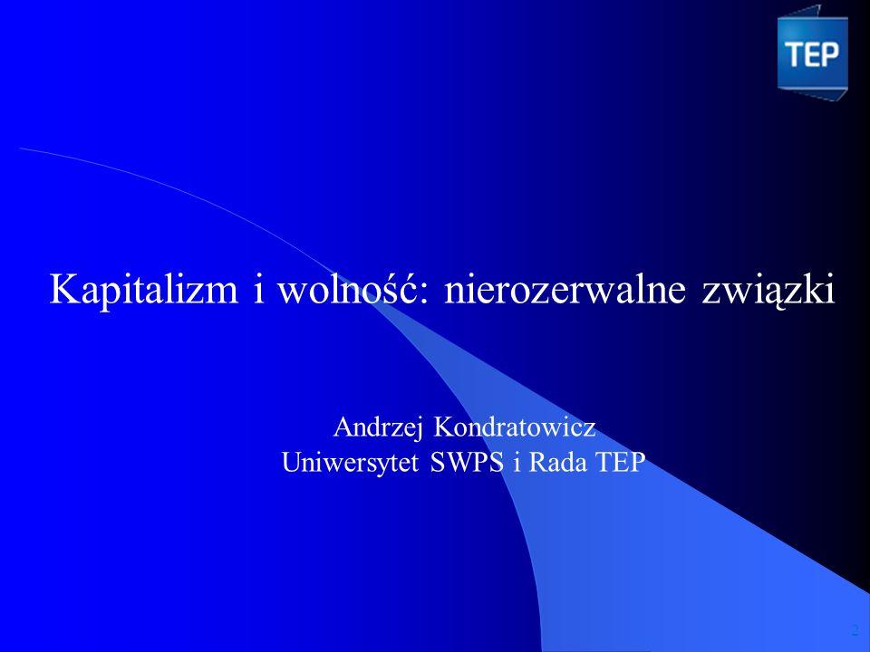 Kapitalizm i wolność: nierozerwalne związki Andrzej Kondratowicz Uniwersytet SWPS i Rada TEP 2