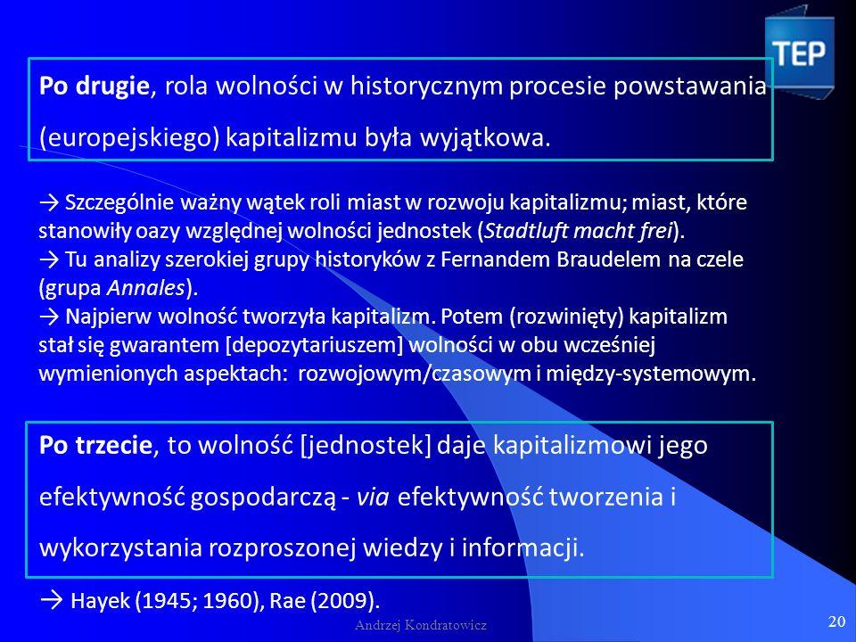 Andrzej Kondratowicz Po drugie, rola wolności w historycznym procesie powstawania (europejskiego) kapitalizmu była wyjątkowa.