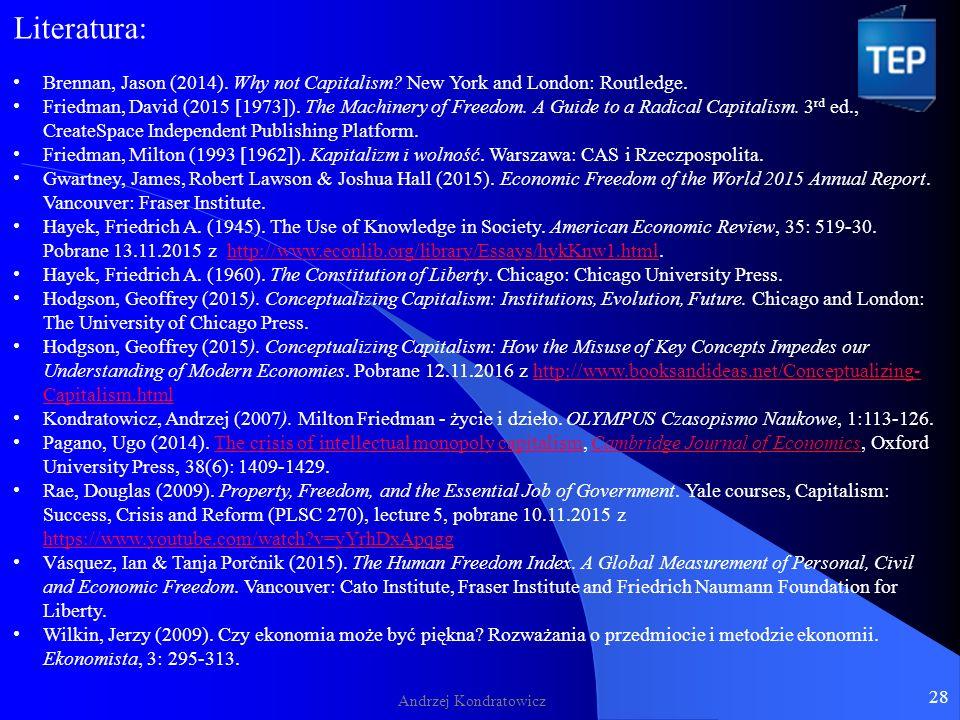 Andrzej Kondratowicz 28 Literatura: Brennan, Jason (2014).