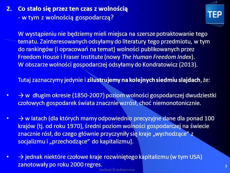 Andrzej Kondratowicz 2.Co stało się przez ten czas z wolnością - w tym z wolnością gospodarczą.