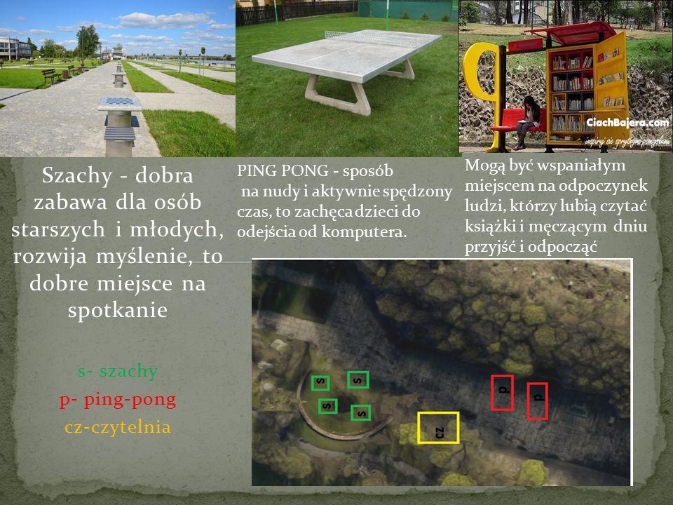 Szachy - dobra zabawa dla osób starszych i młodych, rozwija myślenie, to dobre miejsce na spotkanie s- szachy p- ping-pong cz-czytelnia PING PONG - sposób na nudy i aktywnie spędzony czas, to zachęca dzieci do odejścia od komputera.
