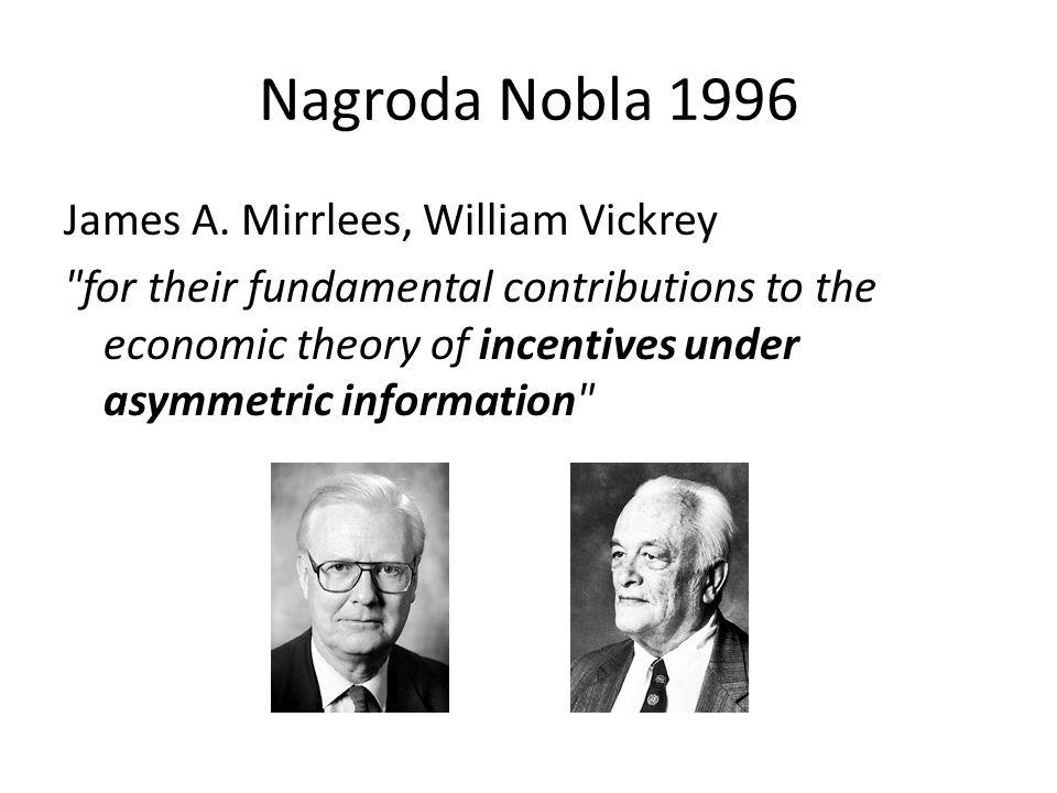Nagroda Nobla 1996 James A. Mirrlees, William Vickrey