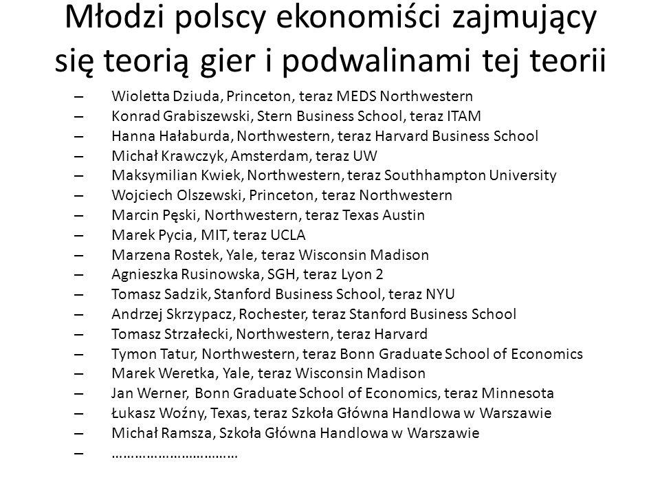 Młodzi polscy ekonomiści zajmujący się teorią gier i podwalinami tej teorii – Wioletta Dziuda, Princeton, teraz MEDS Northwestern – Konrad Grabiszewsk