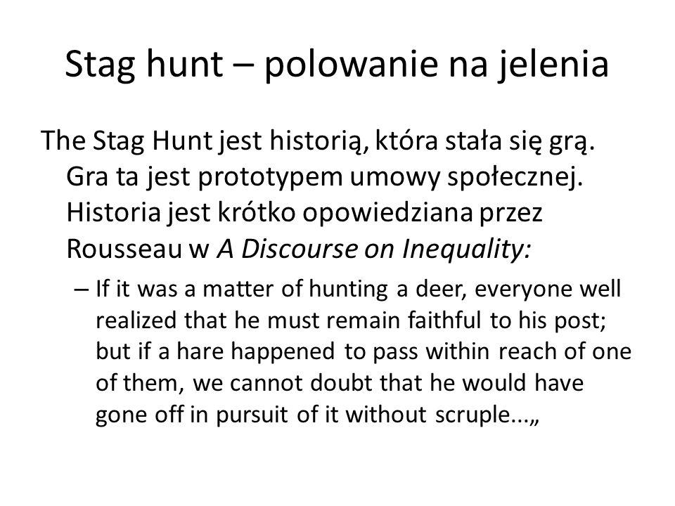 Stag hunt – polowanie na jelenia The Stag Hunt jest historią, która stała się grą. Gra ta jest prototypem umowy społecznej. Historia jest krótko opowi