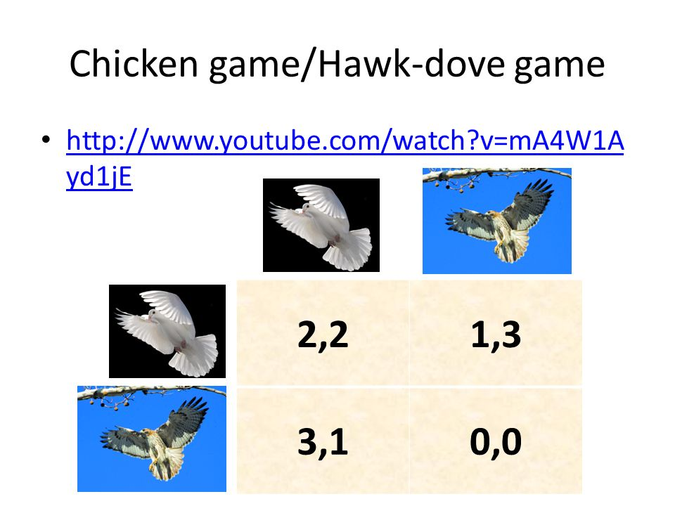 Chicken game/Hawk-dove game http://www.youtube.com/watch?v=mA4W1A yd1jE http://www.youtube.com/watch?v=mA4W1A yd1jE 2,21,3 3,10,0
