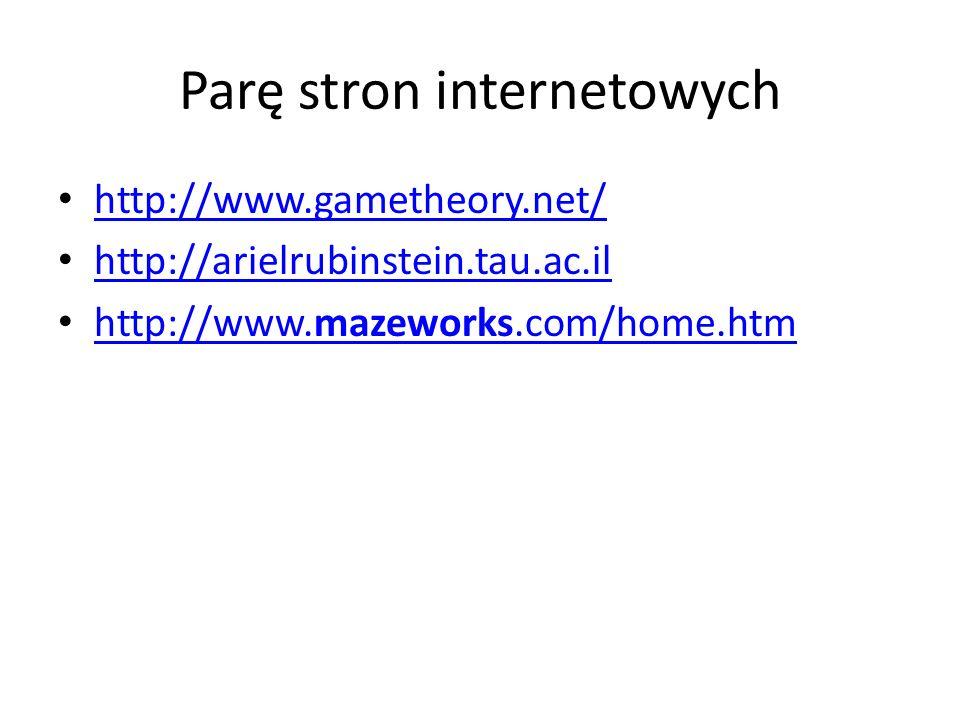 Parę stron internetowych http://www.gametheory.net/ http://arielrubinstein.tau.ac.il http://www.mazeworks.com/home.htm http://www.mazeworks.com/home.h