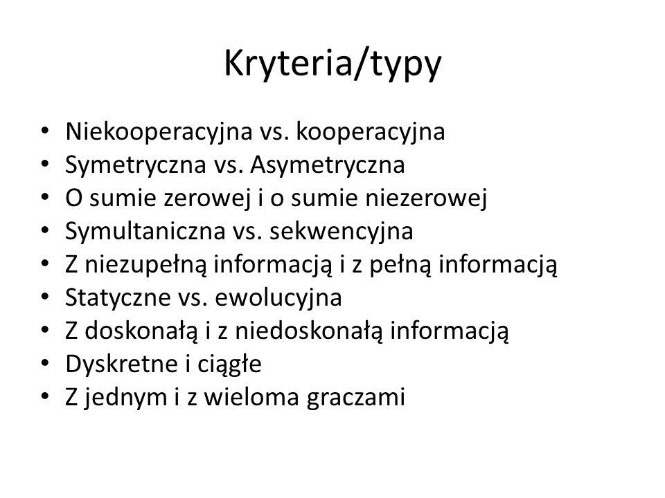Kryteria/typy Niekooperacyjna vs. kooperacyjna Symetryczna vs. Asymetryczna O sumie zerowej i o sumie niezerowej Symultaniczna vs. sekwencyjna Z niezu