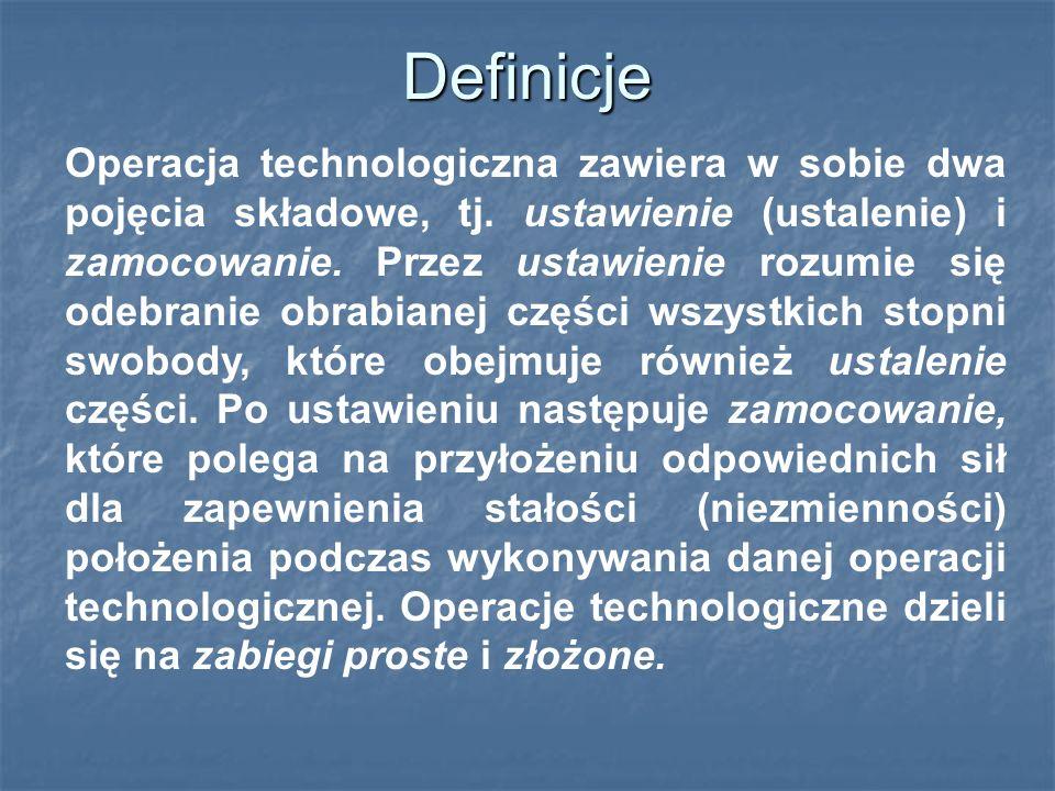 Definicje Operacja technologiczna zawiera w sobie dwa pojęcia składowe, tj.