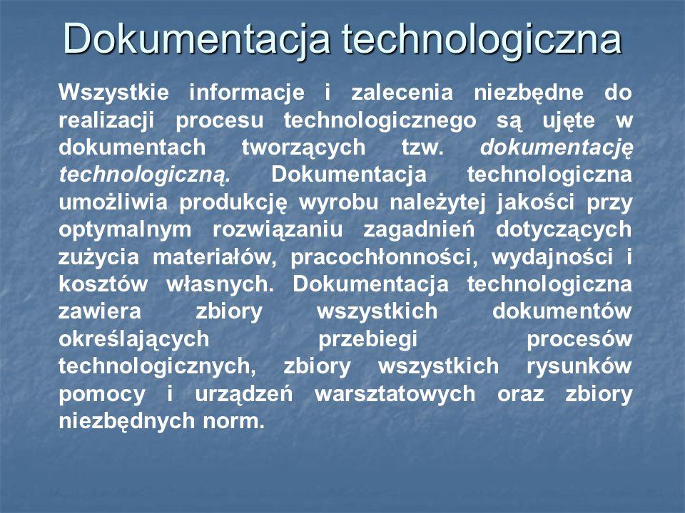 Dokumentacja technologiczna Wszystkie informacje i zalecenia niezbędne do realizacji procesu technologicznego są ujęte w dokumentach tworzących tzw.