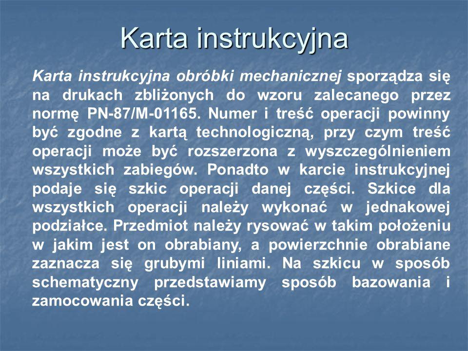 Karta instrukcyjna obróbki mechanicznej sporządza się na drukach zbliżonych do wzoru zalecanego przez normę PN-87/M-01165.