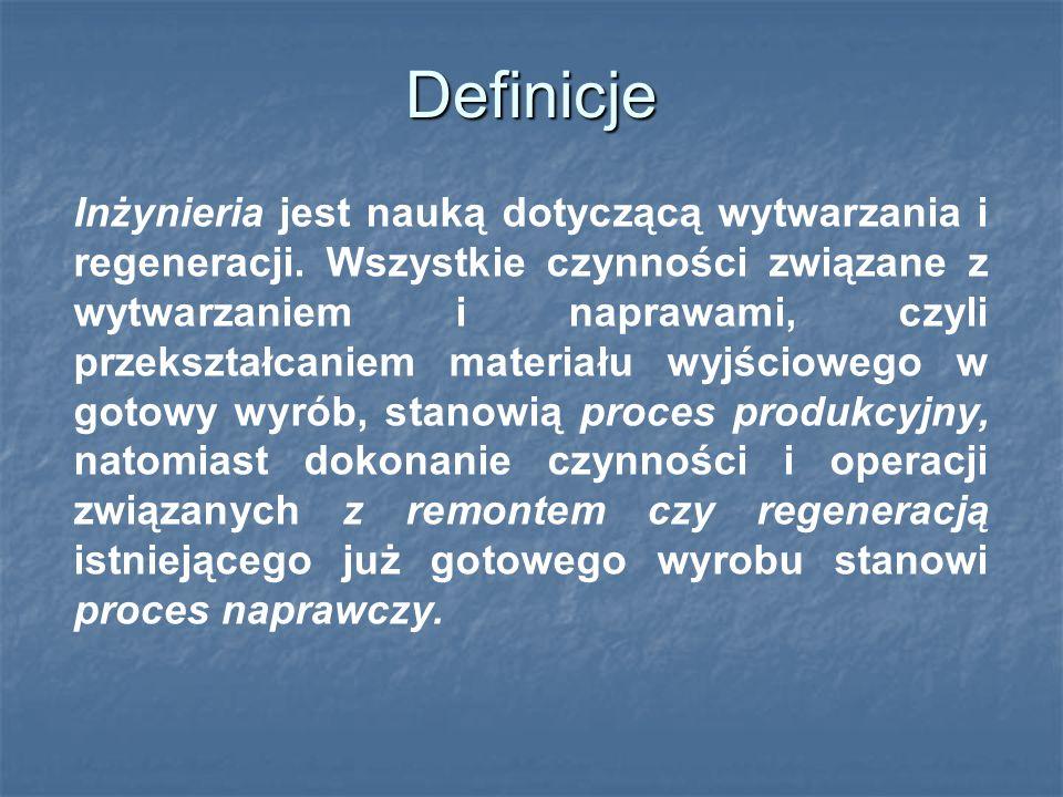 Definicje Inżynieria jest nauką dotyczącą wytwarzania i regeneracji.