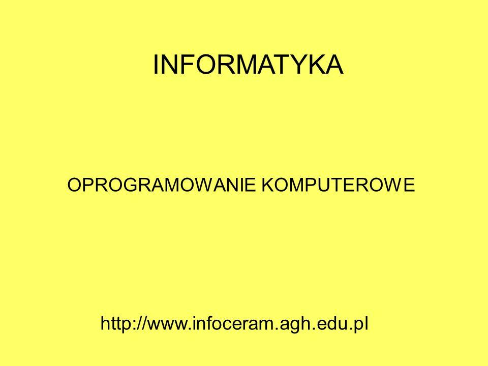 INFORMATYKA OPROGRAMOWANIE KOMPUTEROWE http://www.infoceram.agh.edu.pl
