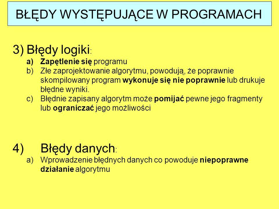 3)Błędy logiki : a)Zapętlenie się programu b)Złe zaprojektowanie algorytmu, powodują, że poprawnie skompilowany program wykonuje się nie poprawnie lub