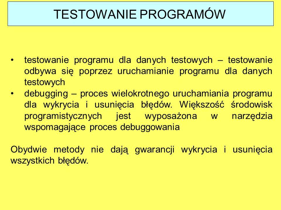 testowanie programu dla danych testowych – testowanie odbywa się poprzez uruchamianie programu dla danych testowych debugging – proces wielokrotnego u