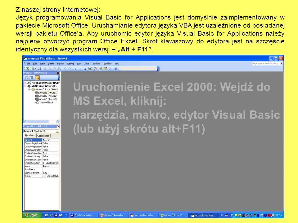 Z naszej strony internetowej: Język programowania Visual Basic for Applications jest domyślnie zaimplementowany w pakiecie Microsoft Office. Uruchamia