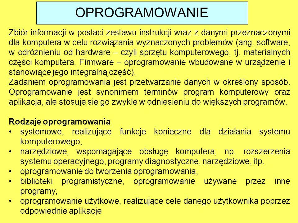 Zbiór informacji w postaci zestawu instrukcji wraz z danymi przeznaczonymi dla komputera w celu rozwiązania wyznaczonych problemów (ang. software, w o