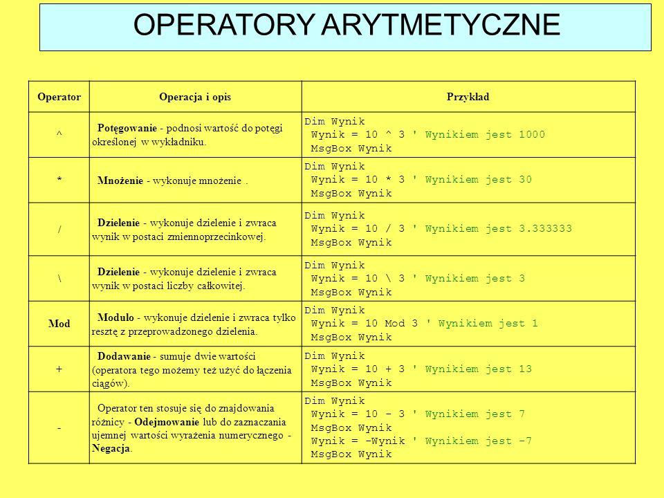 OperatorOperacja i opisPrzykład ^ Potęgowanie - podnosi wartość do potęgi określonej w wykładniku. Dim Wynik Wynik = 10 ^ 3 ' Wynikiem jest 1000 MsgBo