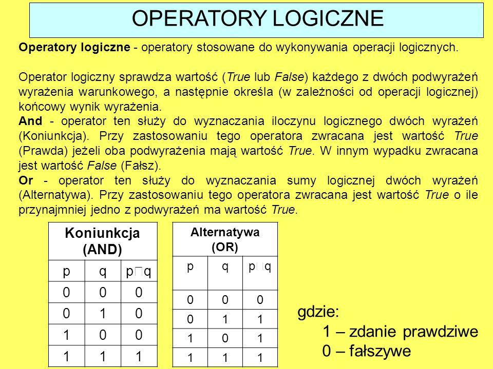 Operatory logiczne - operatory stosowane do wykonywania operacji logicznych. Operator logiczny sprawdza wartość (True lub False) każdego z dwóch podwy