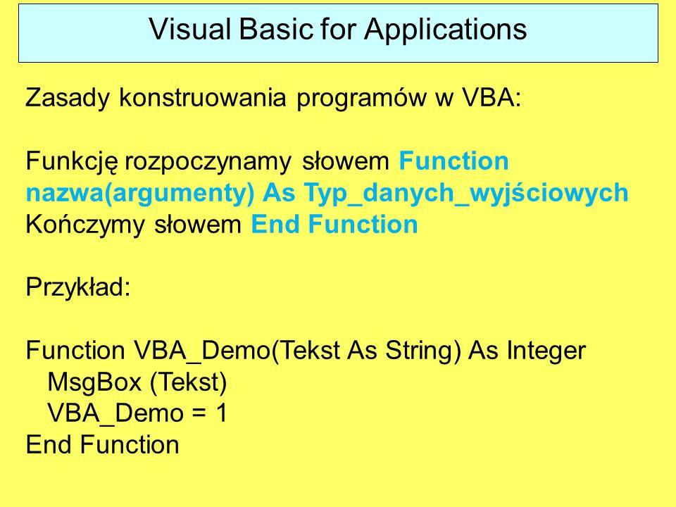 Zasady konstruowania programów w VBA: Funkcję rozpoczynamy słowem Function nazwa(argumenty) As Typ_danych_wyjściowych Kończymy słowem End Function Prz
