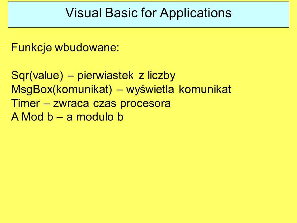 Funkcje wbudowane: Sqr(value) – pierwiastek z liczby MsgBox(komunikat) – wyświetla komunikat Timer – zwraca czas procesora A Mod b – a modulo b Visual