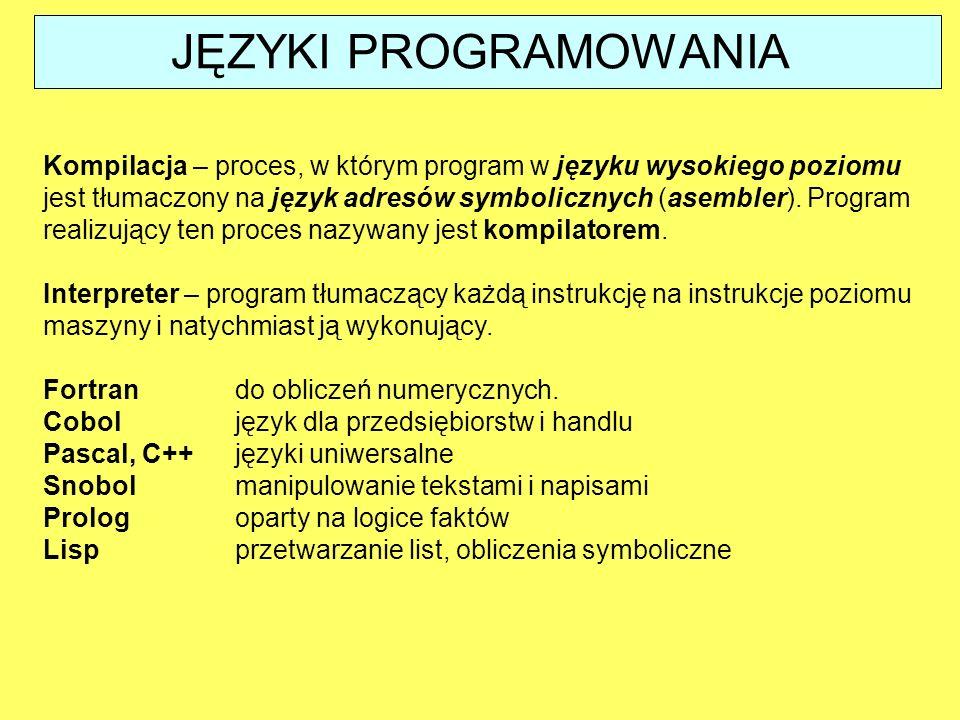 Kompilacja – proces, w którym program w języku wysokiego poziomu jest tłumaczony na język adresów symbolicznych (asembler). Program realizujący ten pr