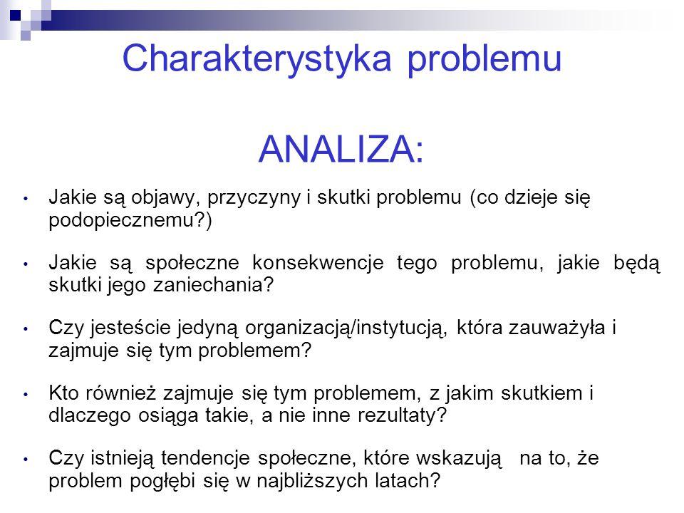 16 Charakterystyka problemu ANALIZA: Jakie są objawy, przyczyny i skutki problemu (co dzieje się podopiecznemu?) Jakie są społeczne konsekwencje tego