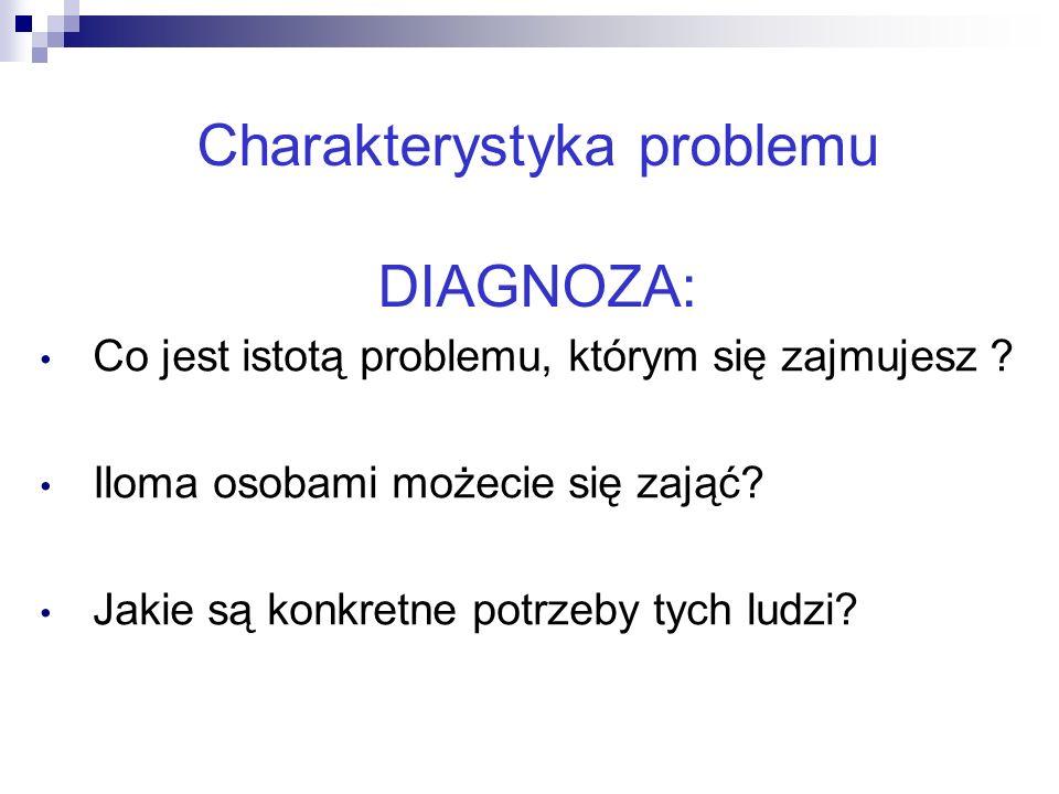 17 Charakterystyka problemu DIAGNOZA: Co jest istotą problemu, którym się zajmujesz ? Iloma osobami możecie się zająć? Jakie są konkretne potrzeby tyc