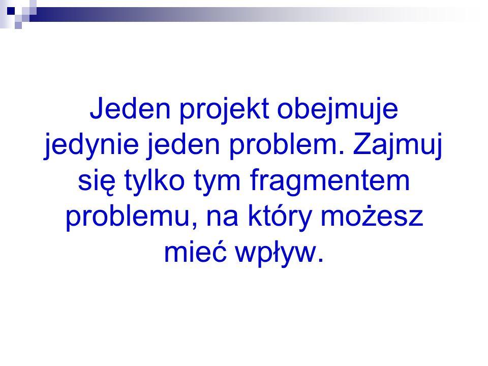 9 Jeden projekt obejmuje jedynie jeden problem. Zajmuj się tylko tym fragmentem problemu, na który możesz mieć wpływ.