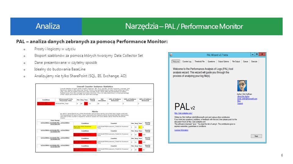 Narzędzia – PAL / Performance Monitor 6 PAL – analiza danych zebranych za pomocą Performance Monitor: o Prosty i logiczny w użyciu o Eksport szablonów za pomocą których tworzymy Data Collector Set o Dane prezentowane w czytelny sposób o Idealny do budowania BaseLine o Analizujemy nie tylko SharePoint (SQL, IIS, Exchange, AD) Analiza