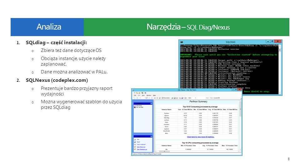 Narzędzia – SQL Diag/Nexus 8 1. SQLdiag – część instalacji: o Zbiera też dane dotyczące OS o Obciąża instancje, użycie należy zaplanować. o Dane można